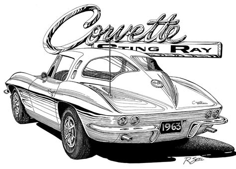 vintage corvette drawing 1963 split window corvette drawing by rod seel