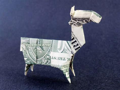 Llama Origami - llama money origami animal dollar bill real