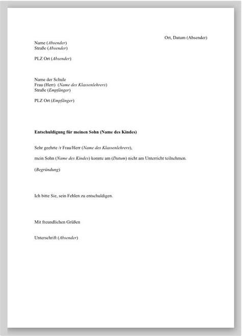 Moderner Briefstil Muster Entschuldigung Antrag Auf Beurlaubung Vom Unterricht Pictures To Pin Entschuldigung Fr Die
