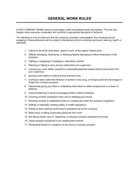 work rules template sle form biztree com