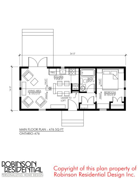 home plans ontario 476 sq ft ontario tiny house plan