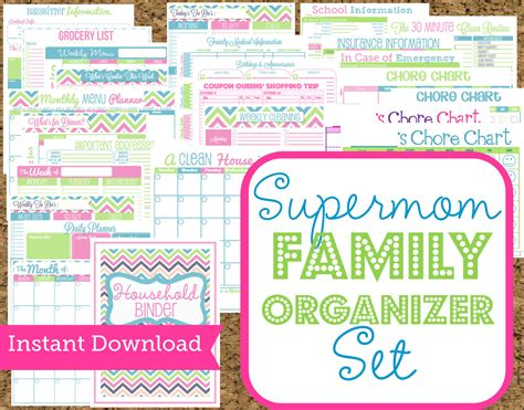 free printable mom planner pages instant download mom planners home organization printables 30