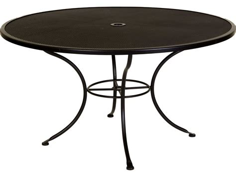 Wrought Iron Patio Table Ow Micro Mesh Wrought Iron 54 Dining Table With Umbrella Ow54mmu