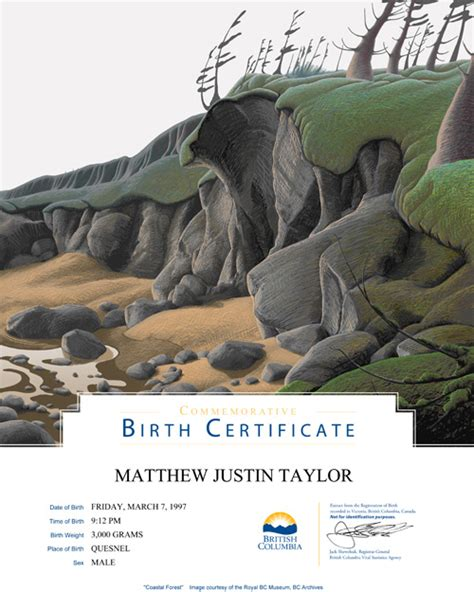 full birth certificate nz commemorative birth certificates province of british