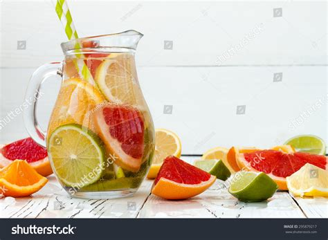 Lemon Lime And Orange Detox Water by Detox Citrus Infused Flavored Water Refreshing Stock Photo