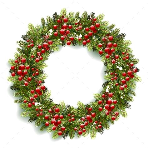 christmas wreath with red berries by baks graphicriver
