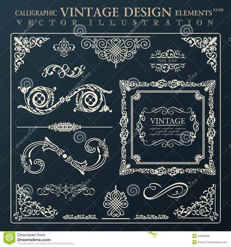ornament design elements vector set calligraphic design elements vintage ornament vector
