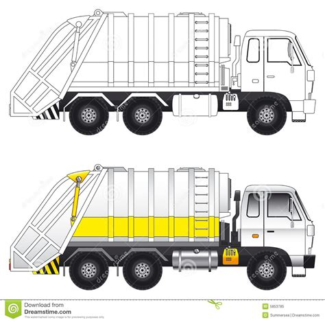 House Architecture Drawing by Garbage Compactor Truck Vector Royalty Free Stock Photo