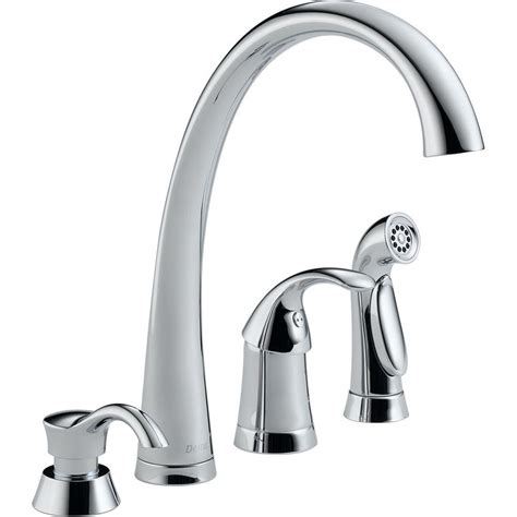 kitchen faucet with sprayer and soap dispenser delta pilar waterfall single handle standard kitchen