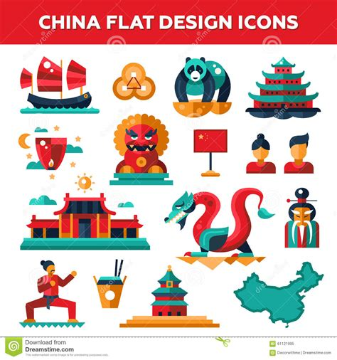 chinese design elements vector set of flat design china travel icons stock vector