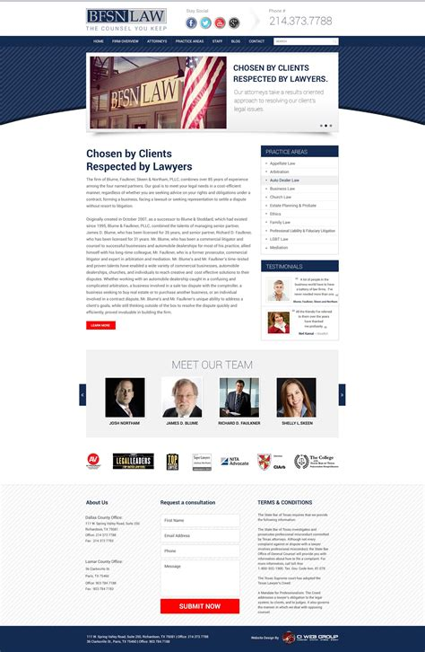 bfsn home page design dallas web design agency