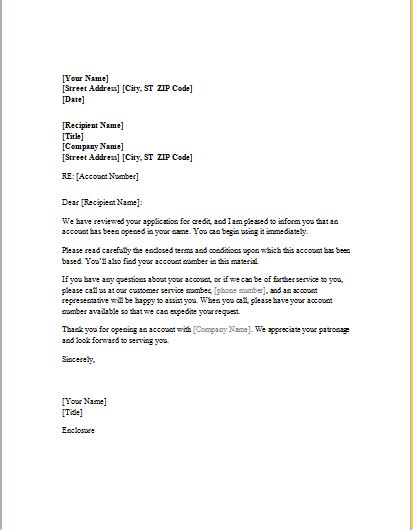 business letter templates credit credit approval letter template for word word excel