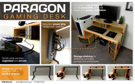 Wooden Paragon Gaming Desk Design Video Game Display Wooden Gaming Desk
