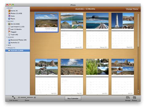 Iphoto 11 Book Themes Iphoto Calendar Templates