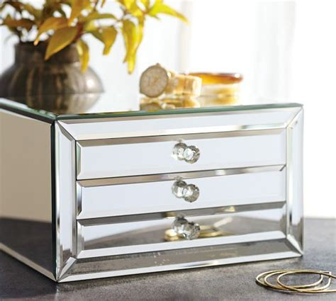 Dresser Mirror With Jewelry Storage by Makeup Mirrored Jewelry Box And Pottery On
