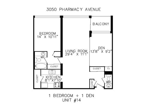 1 bedroom plus den floorplans for apartments in scarborough at 3050 pharmacy