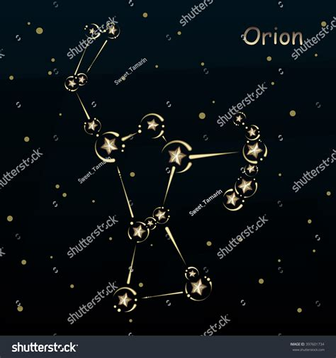 design art by orion orion on dark blue background surrounded stock vector