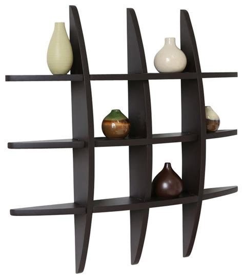 Floating Bookcases Lexington Globe Cross Display Wall Shelf Espresso