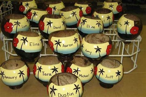 coconut shell wedding favors   a Polynesian Wedding that