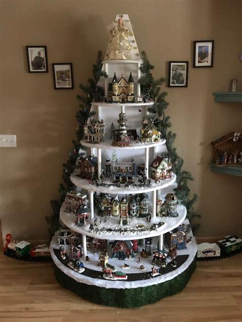 christmas tree shaped christmas village display