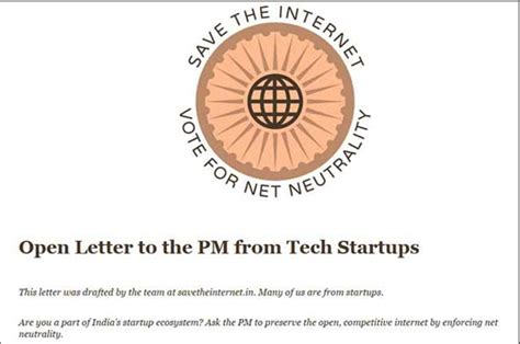 Indian Startups Write Open Letter To Modi Say Protect Net Neutrality Tech Hindustan Times Net Neutrality Letter Template