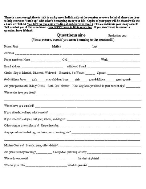 high school reunion questionnaire neat projects