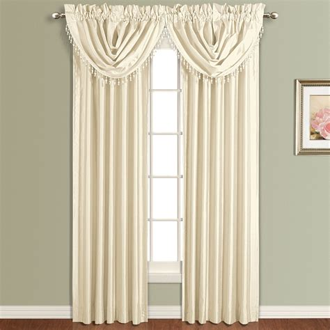 Luxury Window Treatment - united curtain company anna 50 x 32 waterfall valance white natural sage taupe blue gold