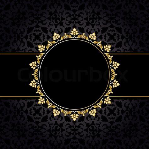 Royal Pattern Frame | royal pattern with golden frame on black background