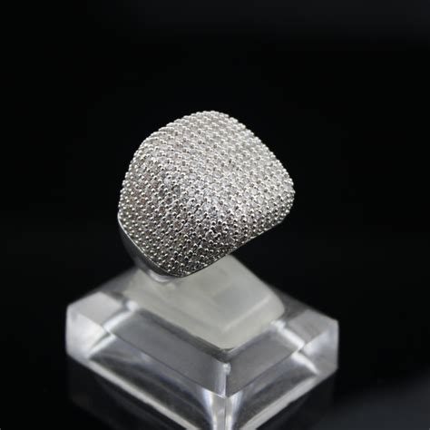 square ring plated real platinum inlay aaa cubic