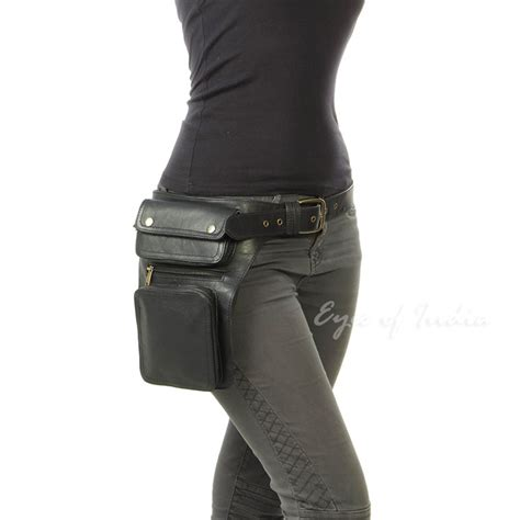 Jaipur Rugs Black Leather Belt Hip Bum Waist Pouch Bag Utility