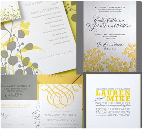 Wedding Invitations Yellow And Grey by Yellow Grey Wedding Invitations