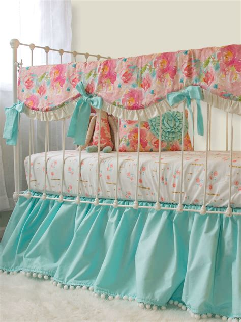 Pastel Crib Bedding Sets Pastel Peonies Rail Cover Bumperless Set Aqua Lottie Da Baby Baby Bedding Nursery Decor