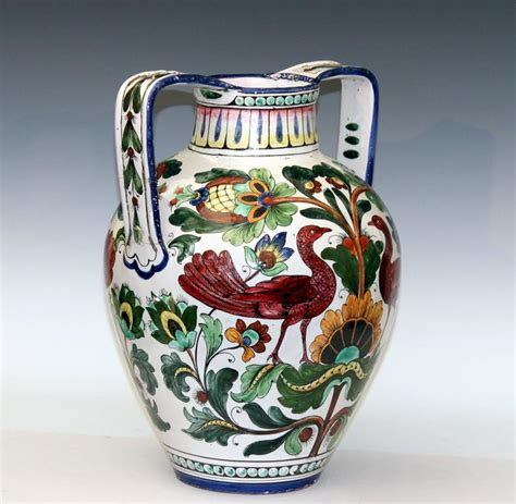 Antique Vases From Italy by Piediluco Large Antique Italian Pottery Faience