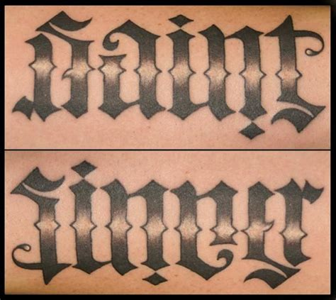 saint and sinner tattoo designs sinner ambigram lettering flickr photo