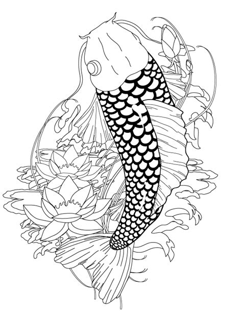 koi tattoo coloring page ink ideas az coloring pages