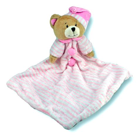 comforter toy for baby pink bear baby comforter soft plush blankie 28cm huggable toys