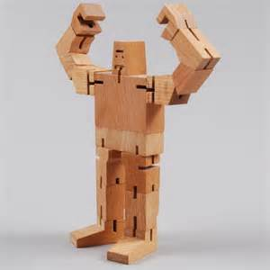 Dance Bedding Guthrie Cubebot Wooden Robot Toy With Poseable Limbs