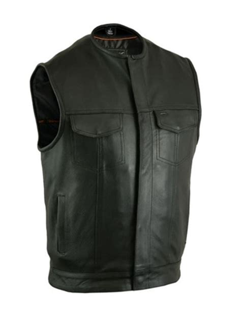 top leather motorcycle vest for anarchy zipper