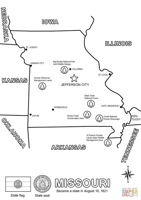 Free Search Missouri Missouri Map Coloring Page Free Printable Coloring Pages