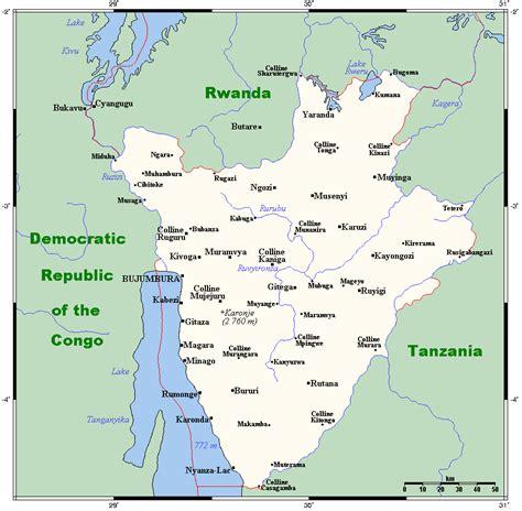 burundi map geography of burundi