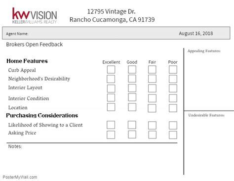 Brokers Open Feedback Form Template Postermywall Real Estate Showing Feedback Form Template