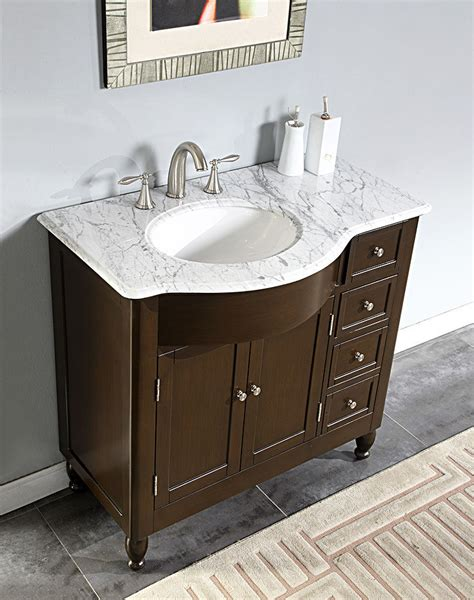 38 Quot Furniture Bathroom Vanity White Marble Top Left Sink Furniture For Bathroom Vanity