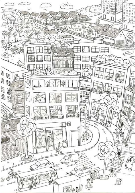 city map coloring page city street free coloring pages