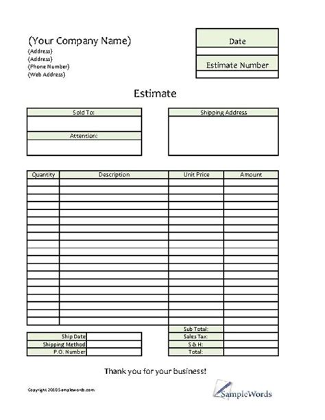 blank estimate form template business invoice template