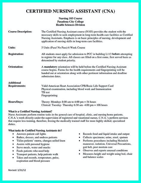Cna Description Resume by Certified Nursing Assistant Description Hospital Best