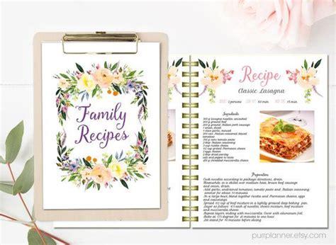 recipe card template indesign floral printable cook book editable recipe template