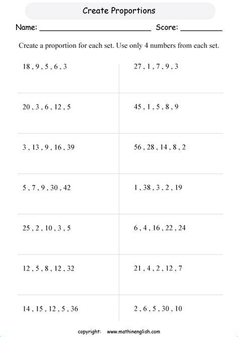 Proportions Worksheet