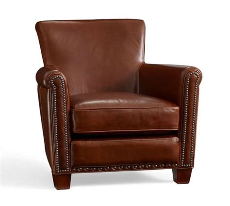 irving leather armchair irving leather armchair with nailheads pottery barn