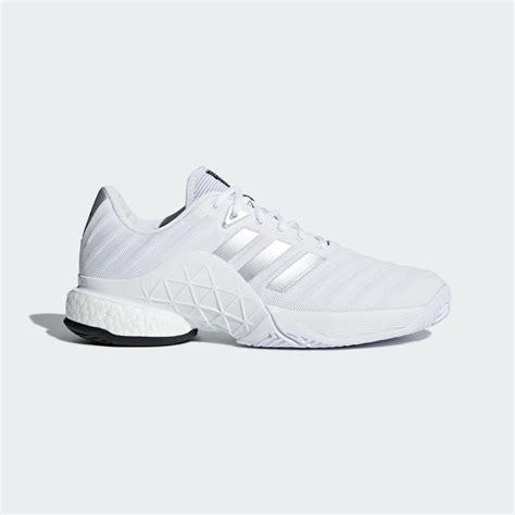 adidas mens barricade boost  tennis shoes white
