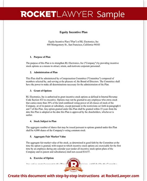 incentive template equity incentive plan for shares stocks template